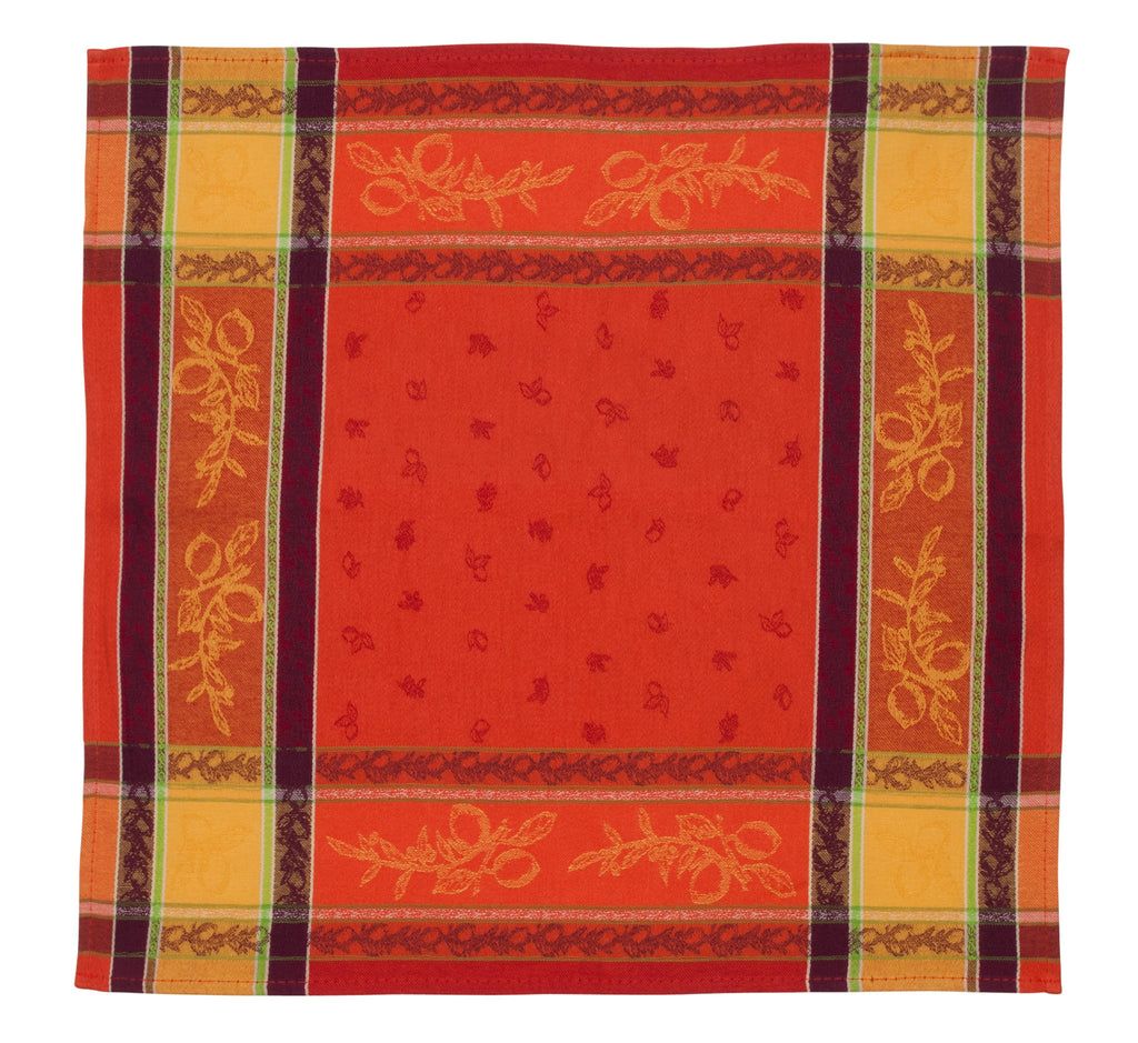 french linen jacquard table napkin with citrus design in orange