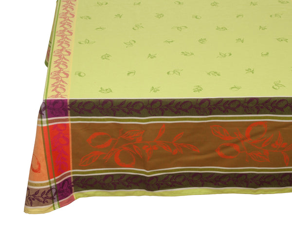 french linen square jacquard tablecloth with citrus design in green