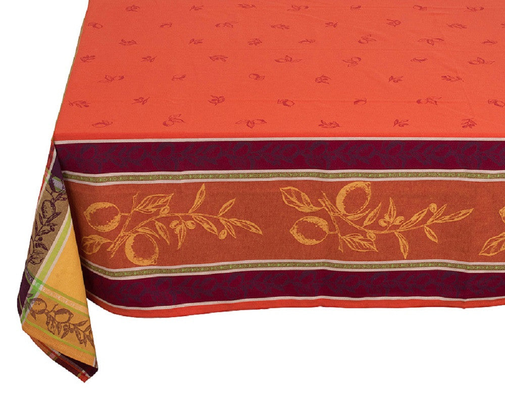 french linen square jacquard tablecloth with citrus design in orange