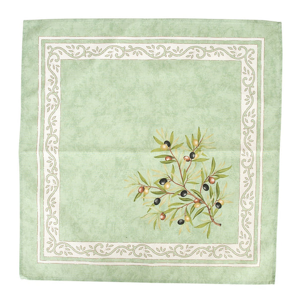 french linen cotton table napkin with olive motif in green