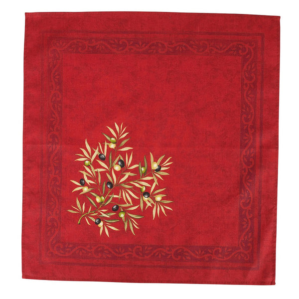 french linen cotton table napkin with olive motif in red