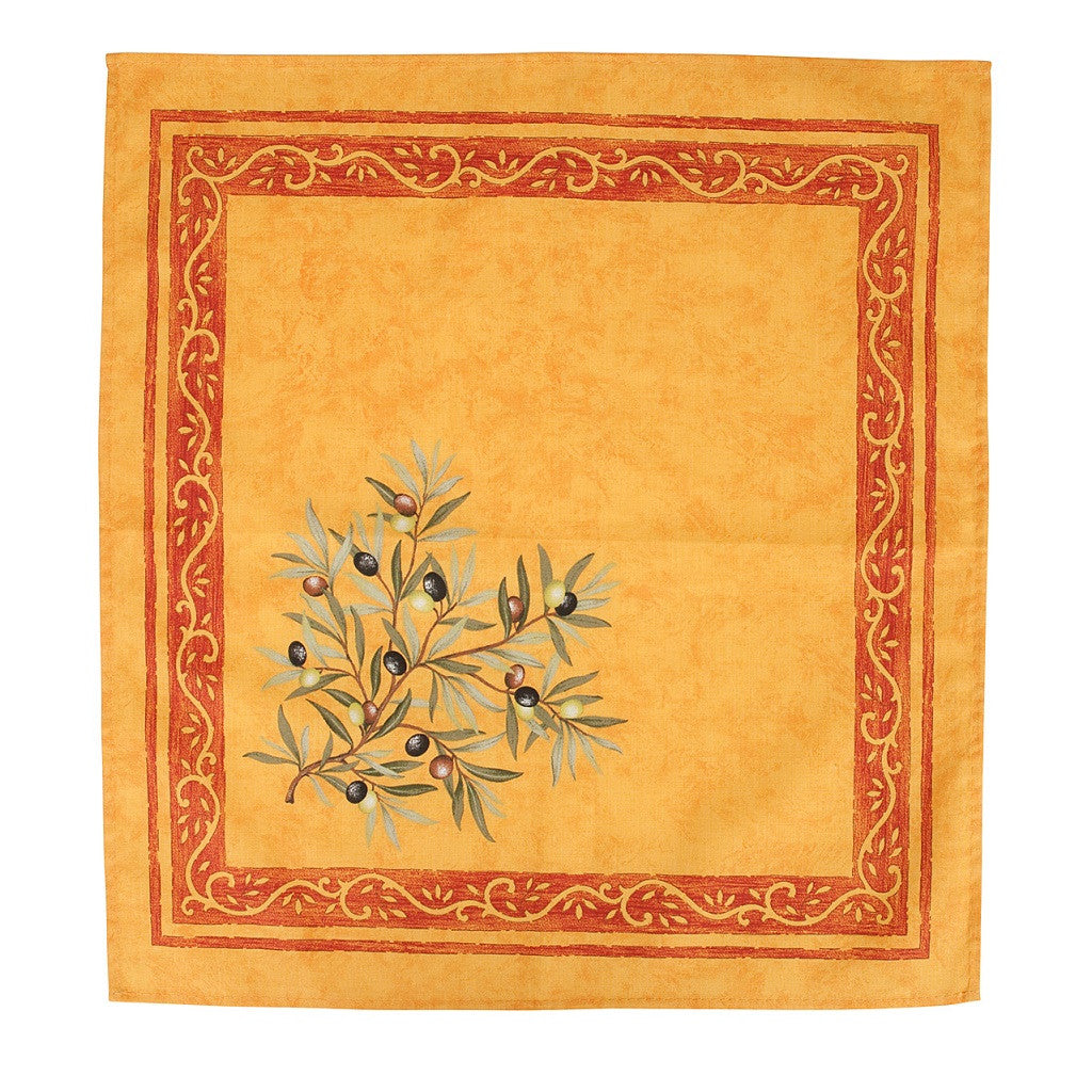 french linen cotton table napkin with olive motif in yellow/red
