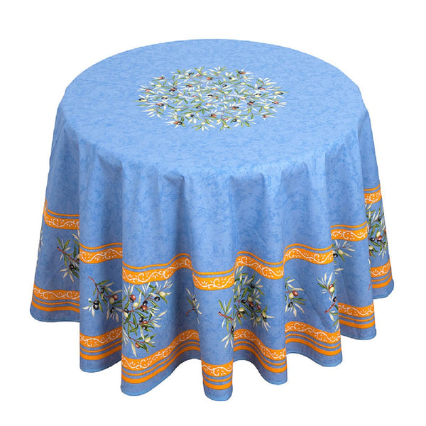 french linen round tablecloth with olive motif in blue