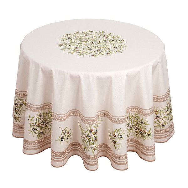 french linen round tablecloth with olive motif in ecru