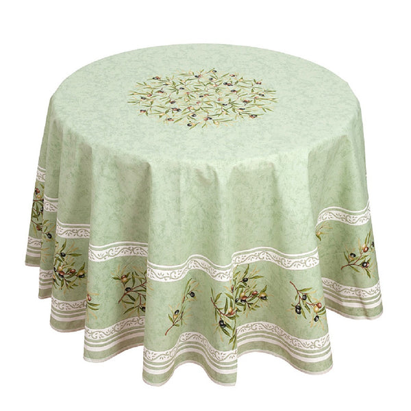 french linen round tablecloth with olive motif in green