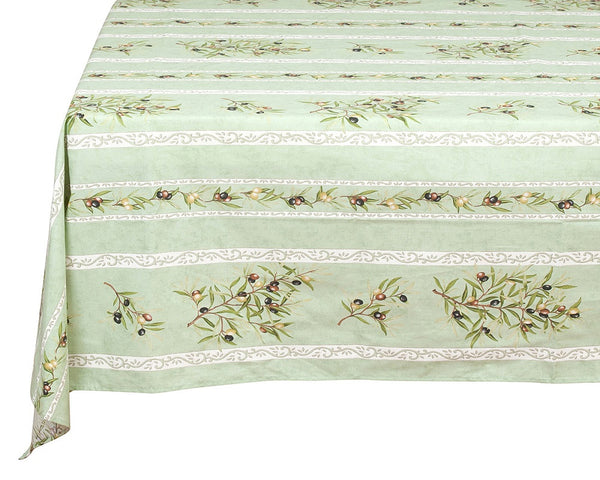 french linen rectangle tablecloth with olive motif in green