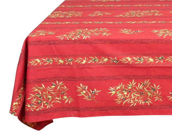 french linen coated cotton rectangle tablecloth with olive motif in red