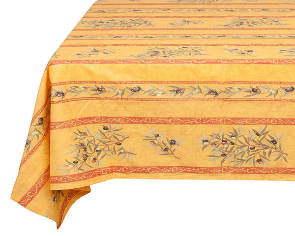 french linen rectangle cotton tablecloth with olive motif in yellow/red
