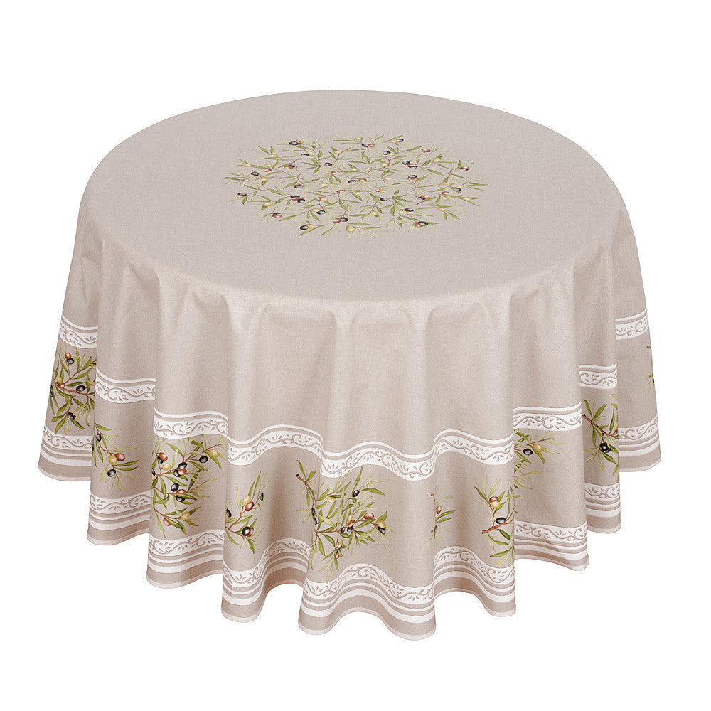 """Clos des Oliviers"" Round Cotton Tablecloth"