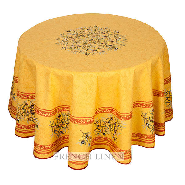 """Clos des Oliviers"" Round COATED Cotton Tablecloth"