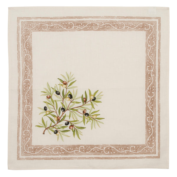 french linen cotton table napkin with olive motif in ecru