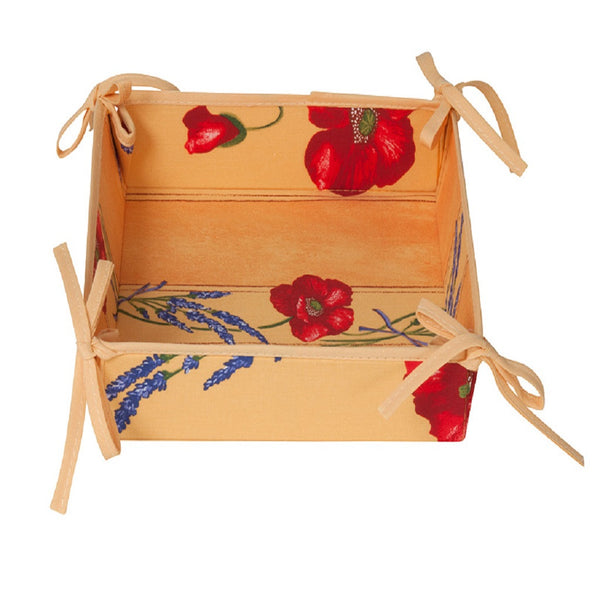 french linen cotton tidy box with poppy and lavender design in yellow