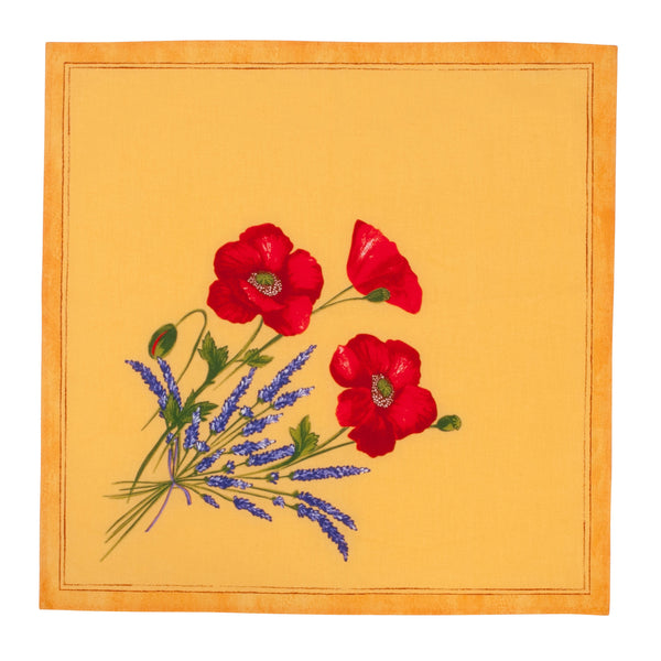 french linen table napkin with poppy and lavender design in yellow