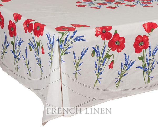 french linen rectangle tablecloth with poppy and lavender design in ecru