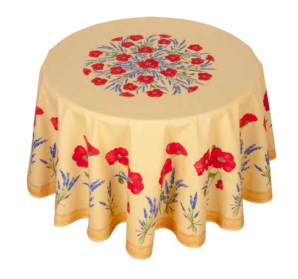 french linen round tablecloth with poppy and lavender design in yellow