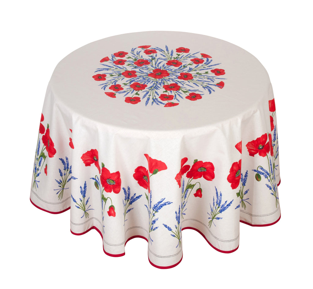 french linen round tablecloth with poppy and lavender design in ecru