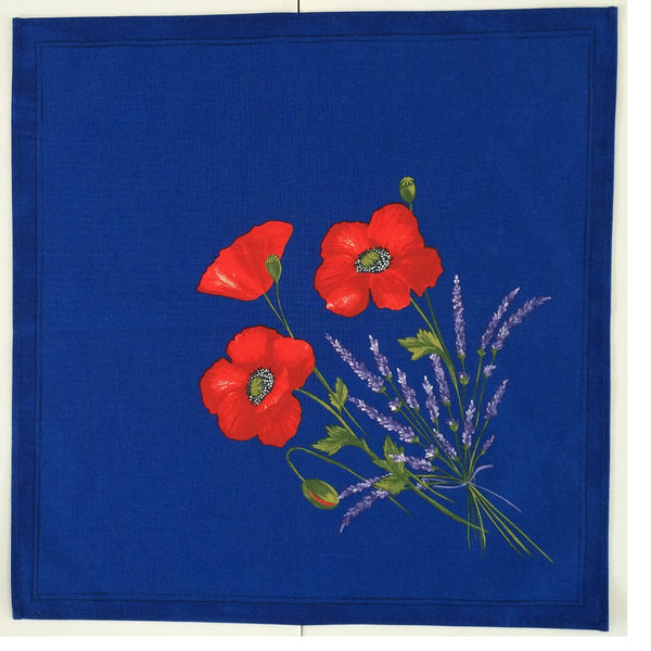 french linen table napkin with poppy and lavender design in blue