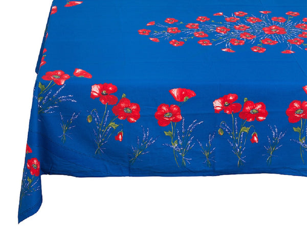 french linen rectangle tablecloth with poppy and lavender design in blue
