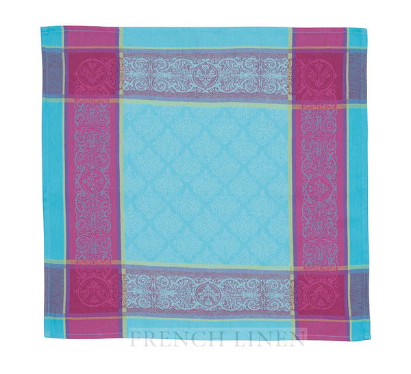 french linen jacquard tea towel with renaissance pattern in turquoise