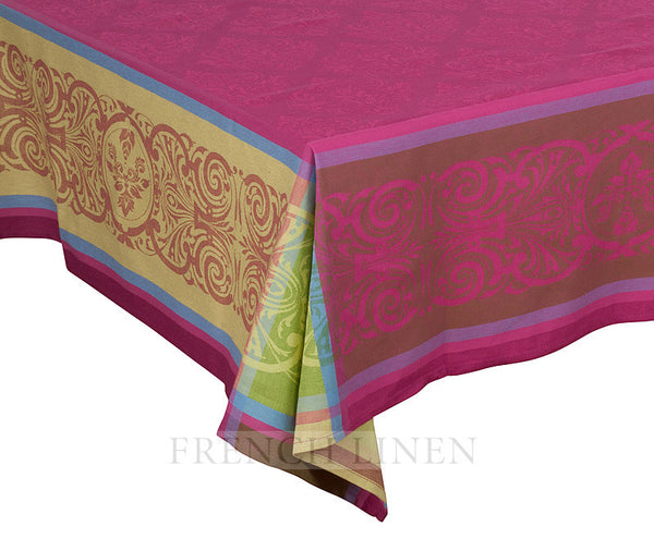 french linen jacquard rectangle tablecloth with renaissance pattern in fuchsia