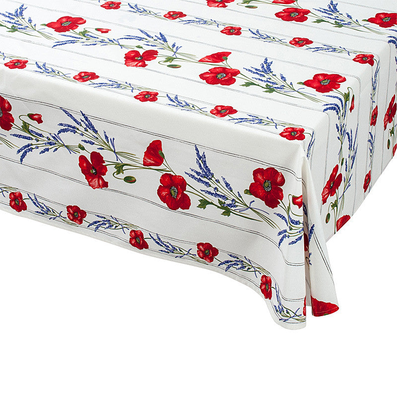 """Coquelicot Lavande"" Rectangle COATED Cotton Tablecloth"