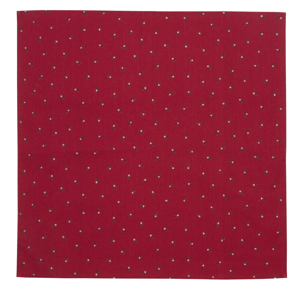 french linen cotton table napkin with fayence design in red
