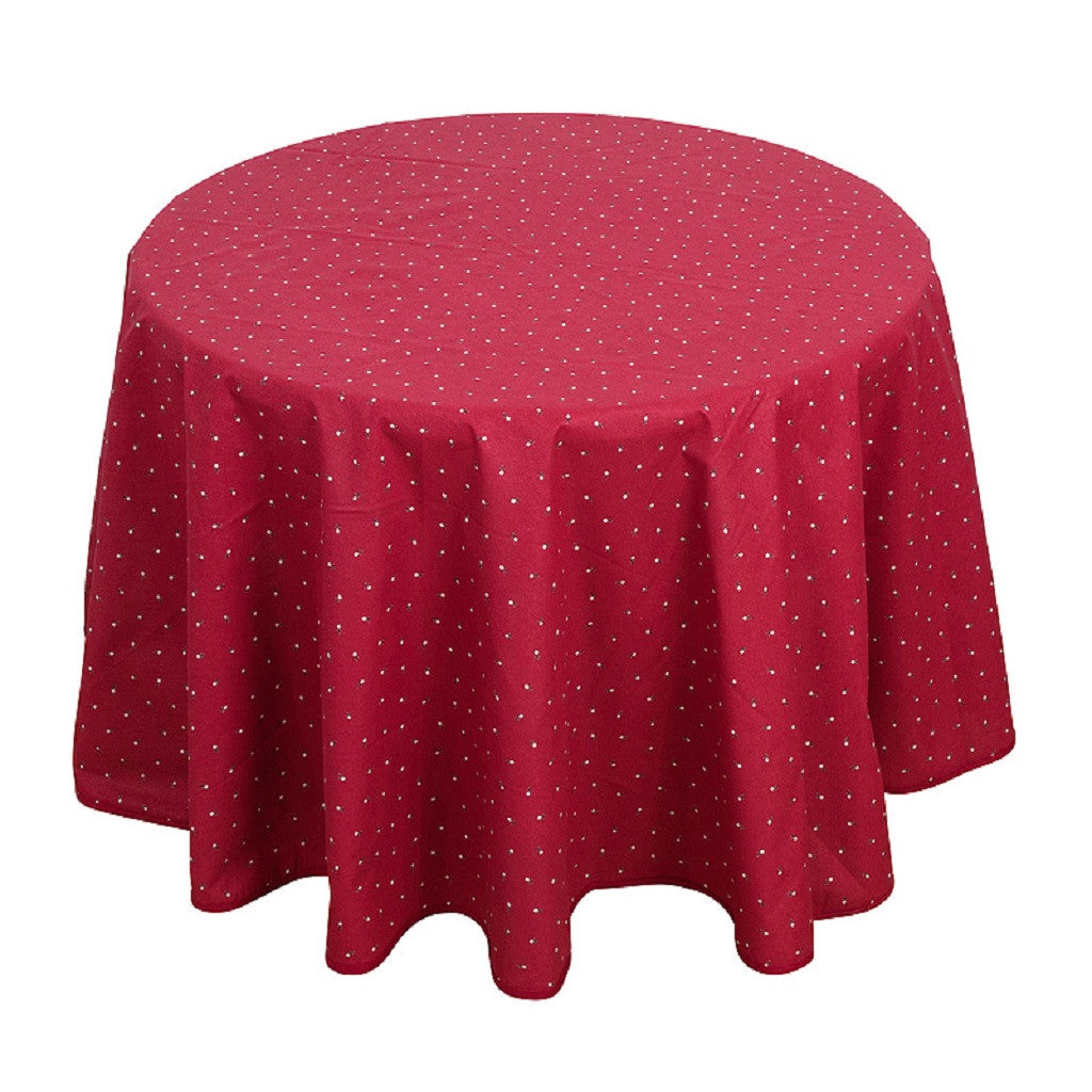 french linen round cotton tablecloth with fayence design in red