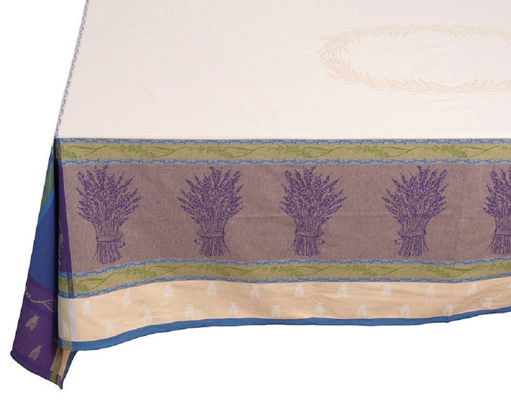 french linen jacquard rectangle tablecloth with lavender design in mauve/ecru