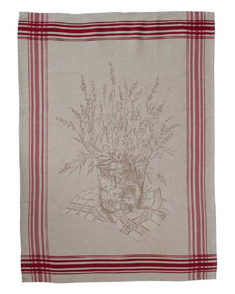 french linen jacquard tea towel featuring farmyard scene in natural/red