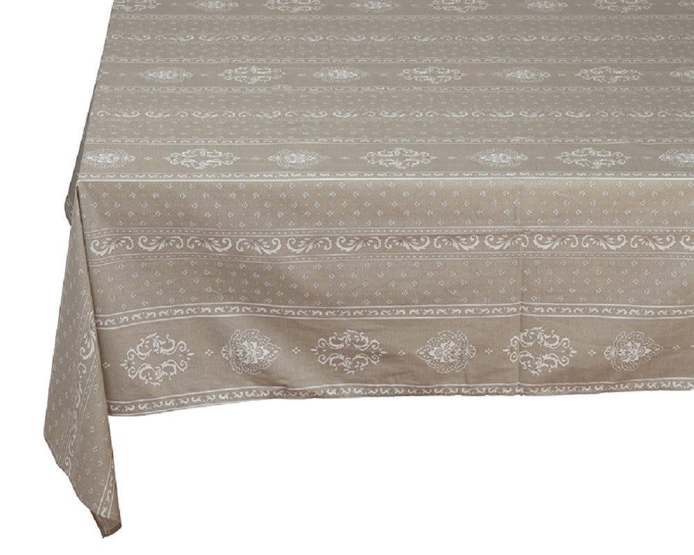 french linen cotton rectangle tablecloth with manoir design in linen