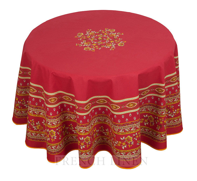 french linen round cotton tablecloth with avignon design in red