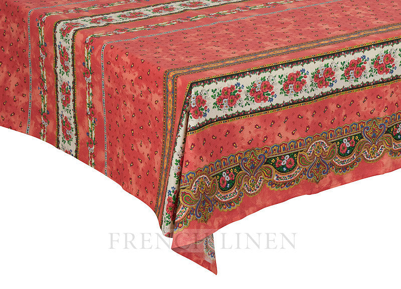 french linen square cotton tablecloth with tradition rayure pattern in rust