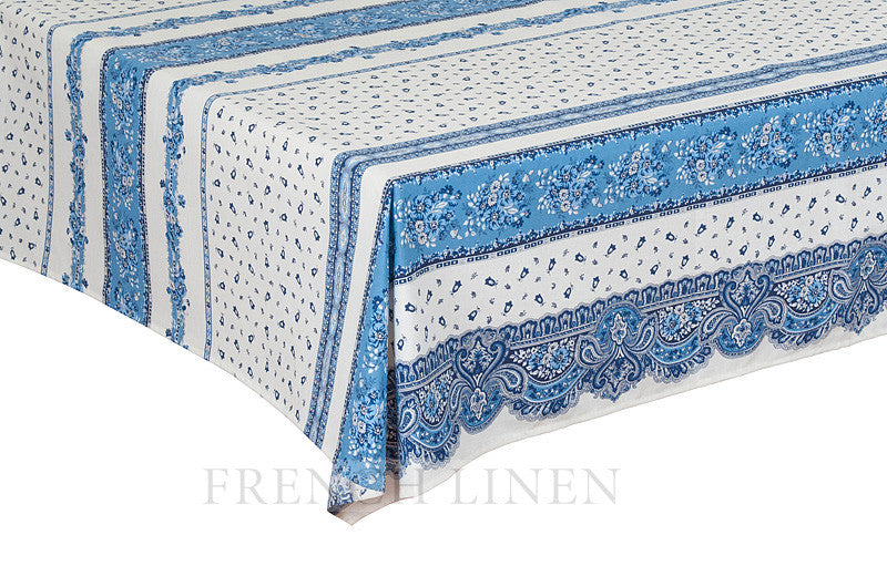 french linen square cotton tablecloth in tradition rayure pattern in blue and white
