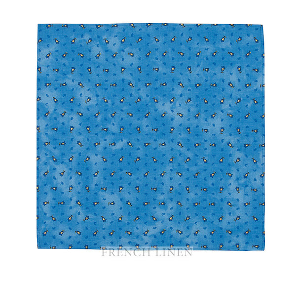 french linen cotton table napkin with tradition allover pattern in blue