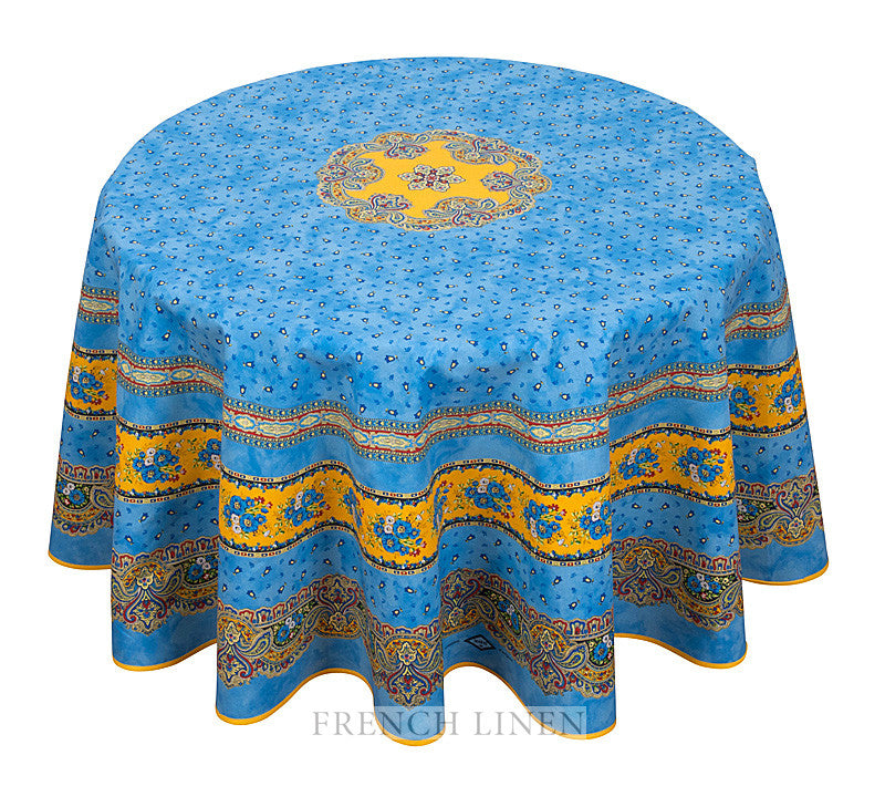 french linen round cotton tablecloth with tradition rayure pattern in blue and yellow