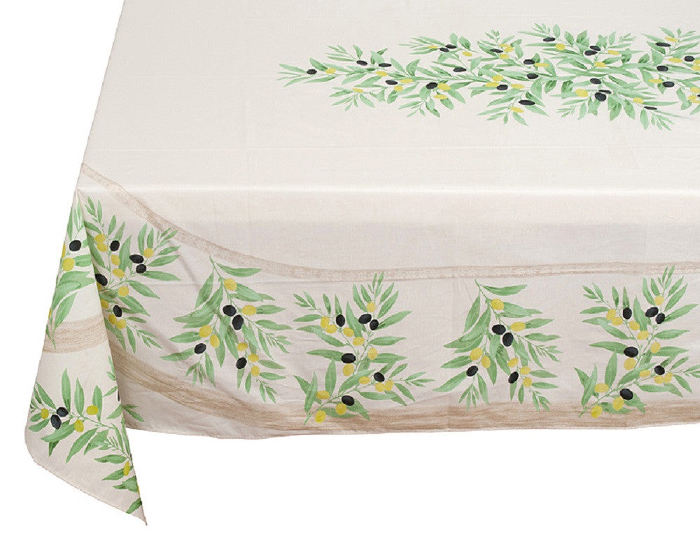 french linen rectangle tablecloth with placed pattern with olive motif in green