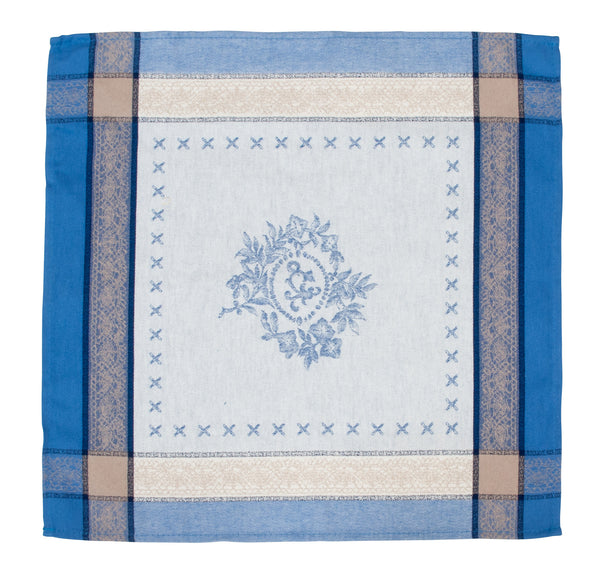 french linen jacquard table napkin with monogramme design in blue