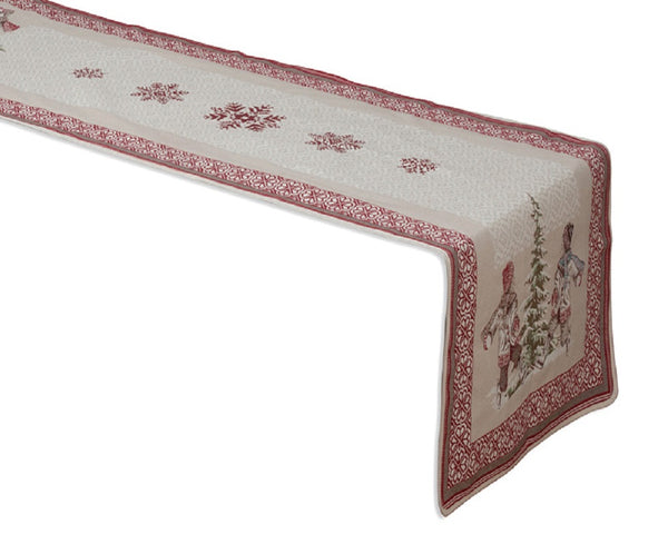 french linen table runner with Christmas design in ecru/red
