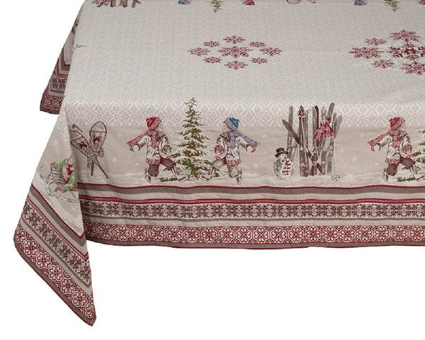 """Montagne Lugeur Christmas"" Square Jacquard Tablecloth"