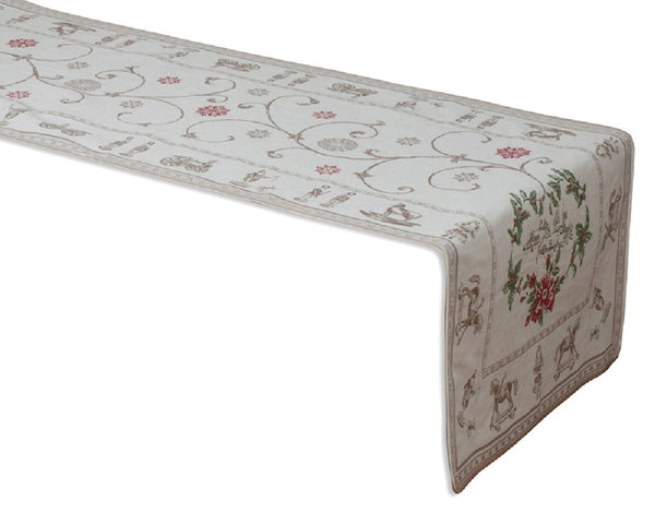 french linen table runner with Christmas design in ecru