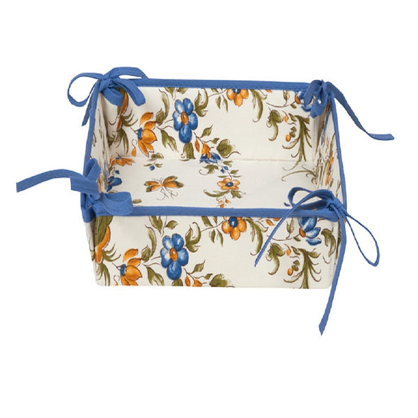 french linen cotton tidy box with moustiers design in blue