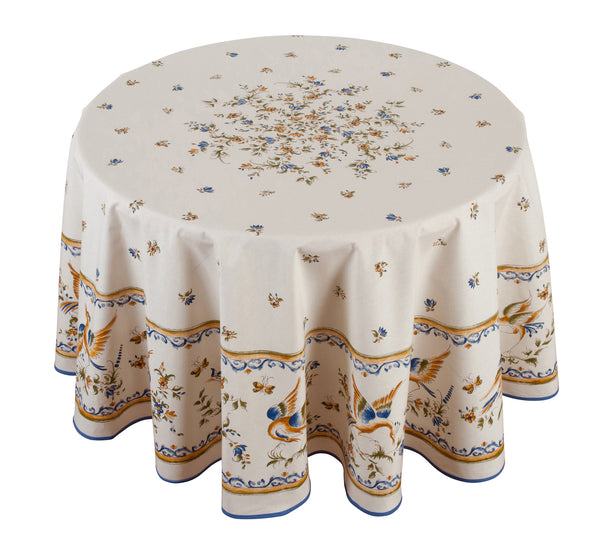"""Moustiers"" Round COATED Tablecloth"