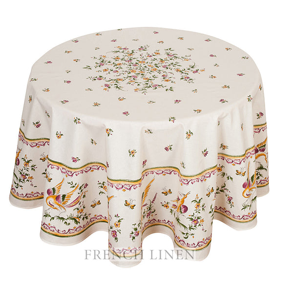 """Moustiers"" Round Cotton Tablecloth"
