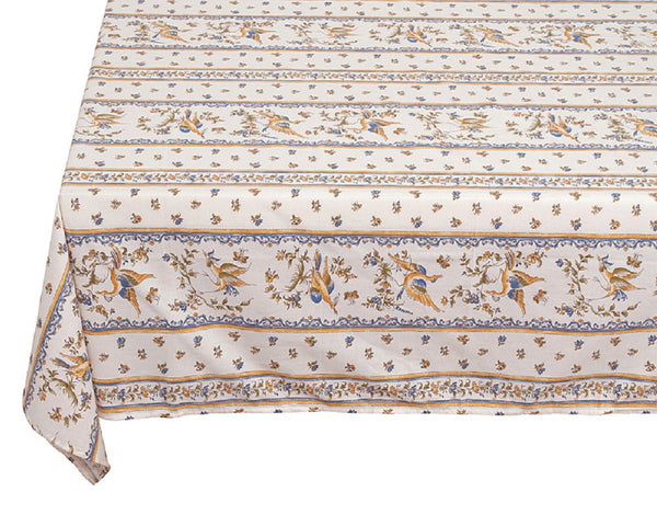 french linen cotton rectangle tablecloth with moustiers design in blue
