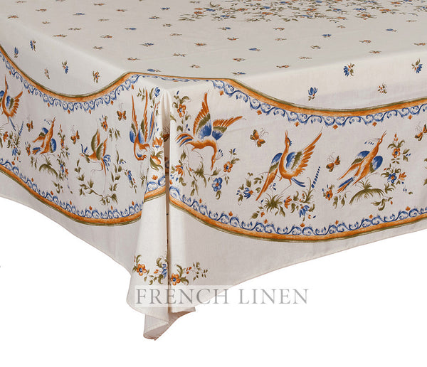 french linen cotton rectangle tablecloth with placed pattern with moustiers design in blue