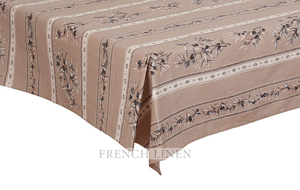 french linen cotton rectangle tablecloth with olive motif in taupe