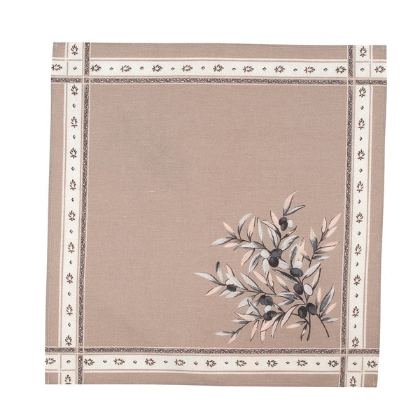 french linen cotton table napkin with olive motif in taupe
