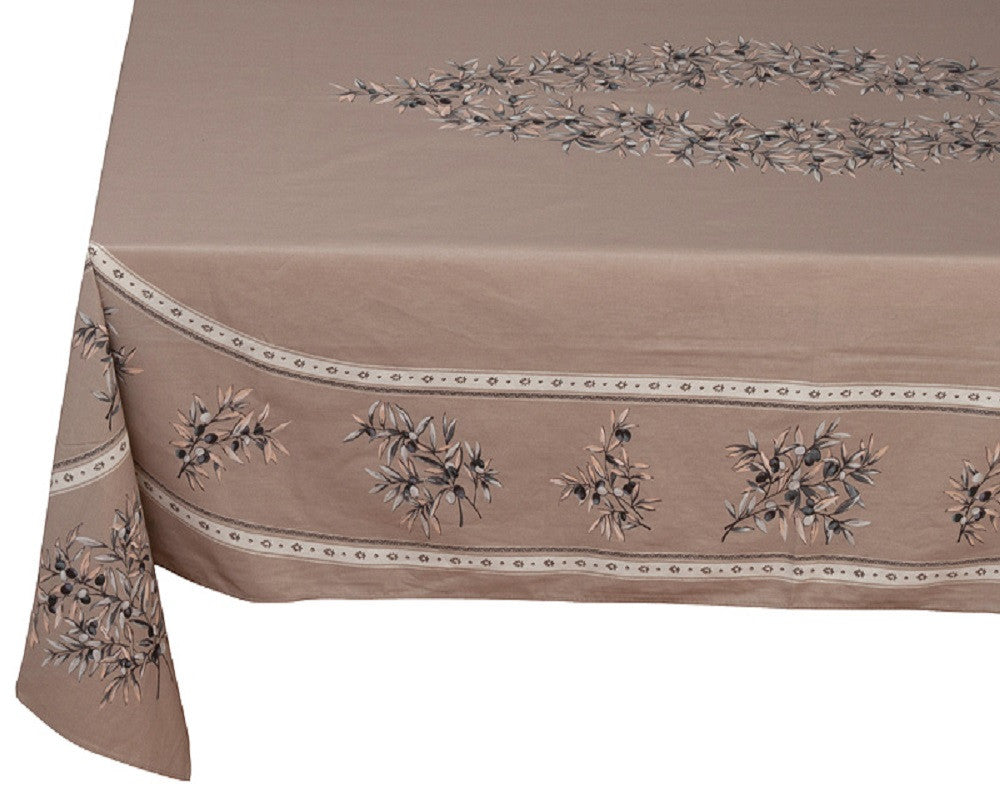 french linen cotton rectangle tablecloth with placed pattern and olive motif in taupe