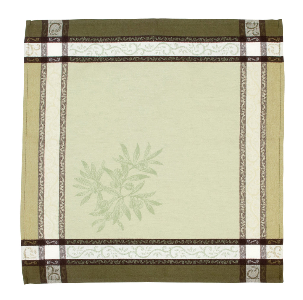 french linen jacquard table napkin with olive motif in green