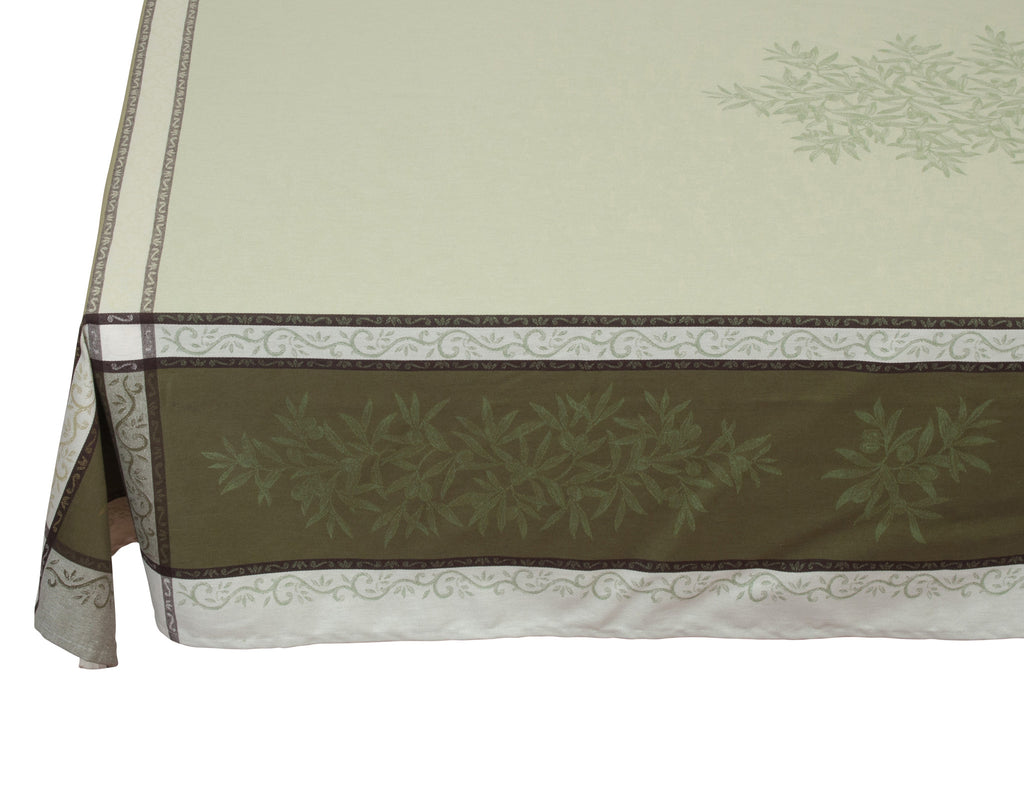 french linen rectangle jacquard tablecloth with olive pattern in green